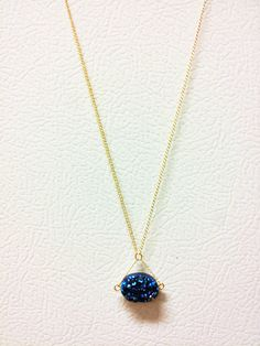 Royal Blue Druzy Necklace 14k Flat Gold Fill by ProlificCreations, $35.00