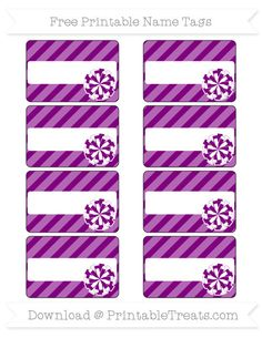 Free Purple Diagonal Striped  Cheer Pom Pom Name Tags