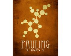 Linus Pauling 8x10 Science Art Print , Molecular Structure, Chemistry Poster, Steampunk Rock Star Scientist, Geeky Office Decor