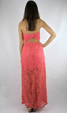 Strapless Lace Open Back Maxi Dress - Coral
