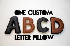 Alphabet Letter Pillow, Crochet Edging & Faux Leather, One Made To Order //product details// This listing is for ONE custom decorative alphabet pillow made in the letter of your choice! A uniqu. Monogram Pillows, Diy Pillows, Accent Pillows, Decorative Pillows, Abcd Letters, Black And White Pillows, House Design Photos, Boho, Black And Brown