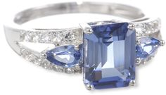 Sterling Silver Created Ceylon Sapphire and Created White Sapphire Ring, Size 7