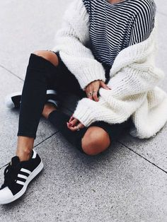 #winter #outfits / Striped Tee // White Wool Cardigan // Destroyed Skinny Jeans // Black Sneakers
