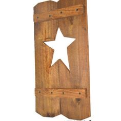 $20.00 Handcrafted Decorative Wood Shutter with Star Cutout These charming shutters are perfect next to a window! Hang it outside or inside, on both sides of one window, or all of your windows! Finished wood with star-shaped cut out Handmade from recycled materials by a skilled woodworker. Each shutter sold separately.  Want a different color or maybe even a different shape cutout? Just send us a custom request and we will be happy to make it for you!