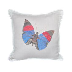 www.giftsoflovingkindness.com An enchanting butterfly design in cobalt blue and deep scarlet will transform your home into a secret garden. This elegant Agrias Narcissus Pillow is the perfect way to bring nature into any throw pillow collection. Every product on our lovingkindness website assists in supporting change around the world. lovingkindness proudly donates to amazing charities like World Vision's Clean Water Campaign.