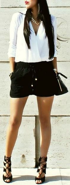 Black & White Outfit w/ Corsette Lace-Up Heels