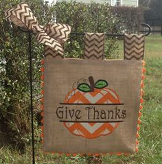 Burlap Garden Flag - Celebrate Fall - Custom - Pumpkin Applique Embroidery by sewgoddesscreations on Etsy https://www.etsy.com/listing/167106030/burlap-garden-flag-celebrate-fall-custom