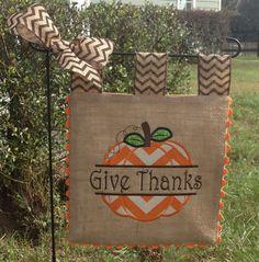 Burlap Garden Flag - Celebrate Fall - Custom - Pumpkin Applique Embroidery by sewgoddesscreations on Etsy https://www.etsy.com/listing/167106030/burlap-garden-flag-celebrate-fall-custom