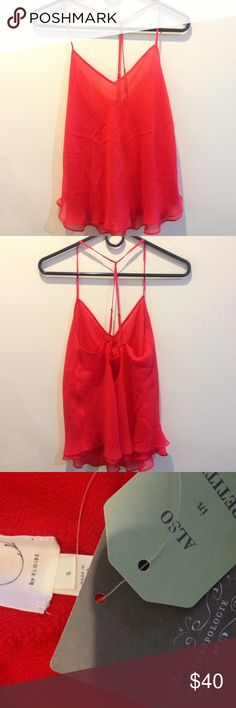 NWT Anthropologie Eloise Poppy Red Silk Tank Top New with tags- Anthropologie E by Eloise tank top in a gorgeous shade of red, made from silk and has adjustable straps in the back. Flouncy and perfectly simple! Anthropologie Tops Tank Tops