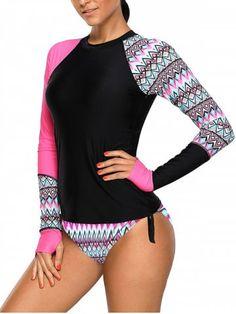 3026e40344 Long-sleeved Swimsuit Women s Round Neck Printing No Steel Ring Split Bikini  Patchwork Designs