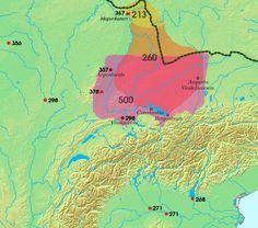 area settled by Alemanni,sites of Roman-Alemannic battles 3-6th c