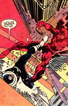 """Bullseye vs. Daredevil (from Daredevil #170 - May 1981) by Frank Miller  - """"I'll use the whole city to kill you!"""""""