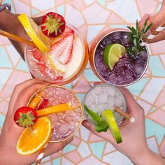 Featuring Strawberry Lemonade White Wine Sangria, Roseberry Mule , Strawberry Orange Rosé Spritzer and Lime Mojito