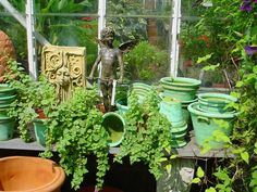 http://www.monchesfarm.com. In the glass house, containers and statuary