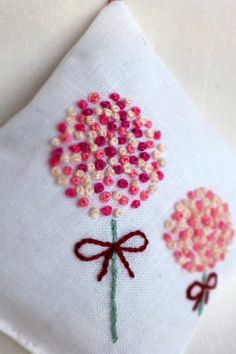 Million french knots lavender sachet hand embroidery