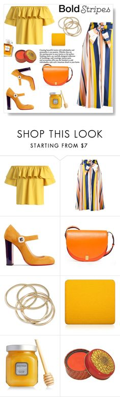 """Bold bold stripes"" by gul07 ❤ liked on Polyvore featuring Chicwish, Tanya Taylor, Christian Louboutin, Victoria Beckham, ABS by Allen Schwartz, SkinCare, Inglot and Laura Mercier"