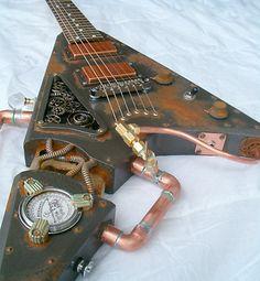 Villanizer custom guitar inspired by the Steampunk movement