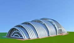 Eco Architecture: Eco Shell Multi-Use Building System gets powered by renewable energy - Ecofriend Arch Building, Building Systems, Building Structure, Building A House, Hut House, Tiny House, Quonset Hut Homes, Shell Structure, Agricultural Buildings