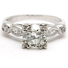 Oh my gosh this is so pretty. Vintage Engagement Ring Old European Cut Diamond Solid Platinum