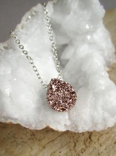 Rose Gold Druzy Necklace Titanium Drusy Quartz by julianneblumlo, $64.00