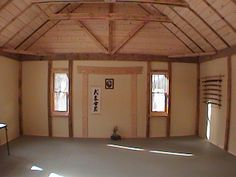 A modest, tasteful, and attractive little dojo, with Zebra mats. Martial Arts Gym, Japanese Dojo, Karate Dojo, Japanese Interior Design, Interior And Exterior, Interior Ideas, Gym Design, Empty Room, Metal Buildings