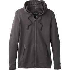 PrAna Smith Full Zip Jacket - S - Gravel - Men's Outerwear ($89) ❤ liked on Polyvore featuring men's fashion, men's clothing, men's outerwear, men's jackets, grey, mens gray leather jacket, mens jackets, mens full zip fleece jacket, mens grey jacket and mens hooded jackets