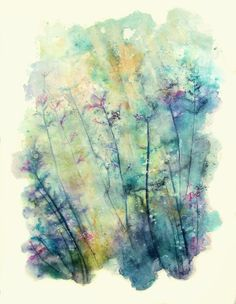 Little forest. Watercolor, ink and gesso 20 x15 inches #zen #yoga #nailart #cooking #detox