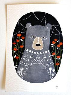 Bear Illustration peinture - Art animalier aquarelle - Keiko Bear par Marisa Redondo