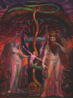"""sex-death-rebirth: """" Adam and Eve Under the Tree of Knowledge by Ernst Fuchs """""""
