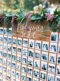 Make guests find their seat by first locating a funny picture of them on an escort card wall. This couple scoured the Internet for months to find the most amusing photos of their guests for this DIY masterpiece.