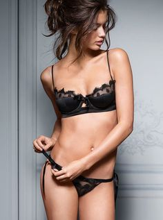Seductive Black #Lingerie - Pretty Demi Cup Bra & #Sexy String Thong