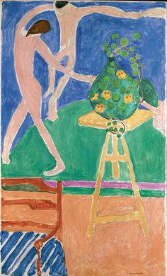 "Henri Matisse (French, 1869–1954)  Nasturtiums with the Painting ""Dance"" I, 1912  Oil on canvas; 75 1/2 x 45 3/8 in. (191.8 x 115.3 cm)"