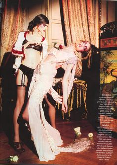 Tango    Christian Dior by John Galliano: Robes - HC F/W 2003-2004; Lingerie – F/W 2007-2008; Veste de sport – F/W 2003-2004    Photography: Ellen von Unwerth for Madame Figaro