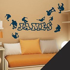 Wall Designer Personalised Name Boys Wall Art Sticker - Skaters, Skateboard, Park, Skate - [ Just message us with Instant way to transform you space. Can be stick to any smooth surface. Cut precisely from thin adhesive quality vinyl to give professional looking finish. Stickers come ready to be applied along with http://www.comparestoreprices.co.uk/december-2016-6/wall-designer-personalised-name-boys-wall-art-sticker--skaters-skateboard-park-skate--[-just-message-us-with-.asp