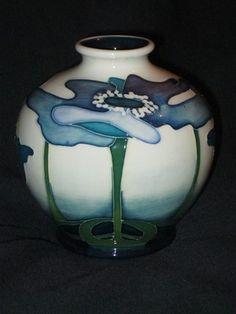 Moorcroft Vase Blue Heaven pattern 41/4 by Nicola Slaney -