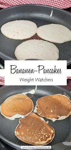 Weight Watchers Pancakes mit Bananen #WeightWatchers #Pancakes #WeightWatchersPancakes Weight Watchers Pancakes, Griddle Pan, Easy Peasy, Crepes, Good Food, Favorite Recipes, Breakfast, Sweet, Desserts
