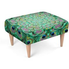 Peacock Frenzy Footstool ($250) ❤ liked on Polyvore featuring home, furniture, ottomans and peacock furniture