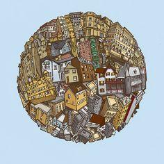 Art by Gregor Louden Creative Illustration, Illustration Art, Abstract City, Buy Art Online, Subtle Textures, Giclee Print, City Photo, Fine Art, Wall Art
