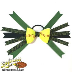 Softball Hair Bow – Green Camouflage - All For New Hairstyles Softball Hair Braids, Softball Hairstyles, Prom Hairstyles, Messy Bun With Braid, Braided Buns, Messy Buns, Green Ribbon, Ribbon Colors, Braided Bun Hairstyles