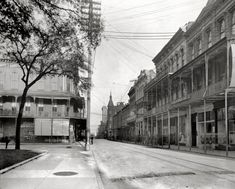 """Mobile, Alabama, circa 1906. """"Dauphin Street."""" Shoes to the right, hats to the left. 8x10 inch dry plate glass negative, Detroit Publishing Company. i walked on dauphin street in the 1957 ..."""