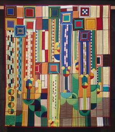 """""""After Wright"""" by Susan Atkinson, Great Britain.  2015 Festival of Quilts (Birmingham, UK)."""