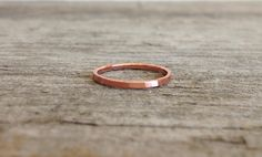 Brushed Copper Ring Stackable Ring Skinny Rings by TesoroDelSol