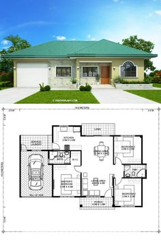 One storey Bungalow House with 3 bedrooms One Floor House Plans, Little House Plans, Small Modern House Plans, Bungalow Floor Plans, Beautiful House Plans, House Layout Plans, Family House Plans, Craftsman House Plans, House Layouts