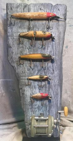 Items similar to Antique Fishing Lures and Fishing Reel Mounted on Weathered Cyp. - Items similar to Antique Fishing Lures and Fishing Reel Mounted on Weathered Cypress Display Board - Trout Fishing Tips, Vintage Fishing Lures, Fishing Videos, Fishing Tricks, Fishing Knots, Fishing Vest, Fishing Games, Magnet Fishing, Fishing Crafts