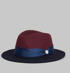 Chapeau de type Fedora en feutre de laine bleu marine et bordeaux, bandeau de…