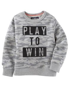 He's set to score big points for style with a cool camo print and inspiring slogan. Pair this one with heritage active pants for an all-around sporty look. Baby Boy Camo, Baby Boy Dress, Baby Boy Outfits, Little Kid Fashion, Kids Fashion Boy, Toddler Fashion, Toddler Jeans, Toddler Boys, Mens Fashion Sweaters