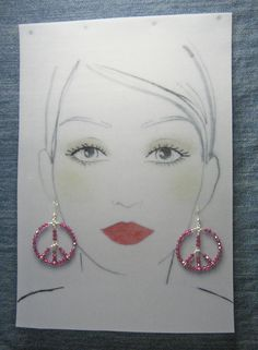 Sterling Silver Peace Earrings - Swarovski Crystals Fuchsia Pink - #52811o50