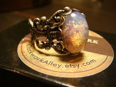 Victorian Style Fire Opal Antique Silver by ClockworkAlley on Etsy, $17.00