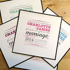 Wedding Invite Typography Invite Modern Colour