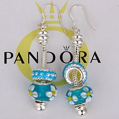 Sunflower and turquoise Pandora earrings